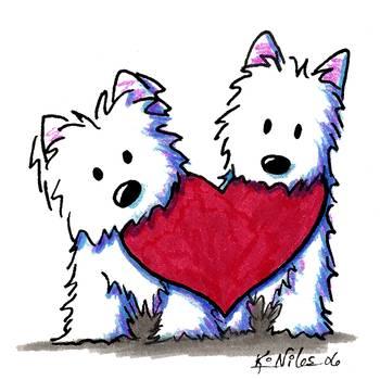 Valentine Westie Duo By Kim Niles