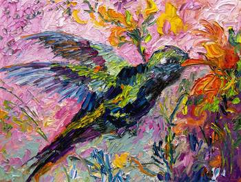 Hummingbird Oil Painting By Ginette Callaway By Ginette