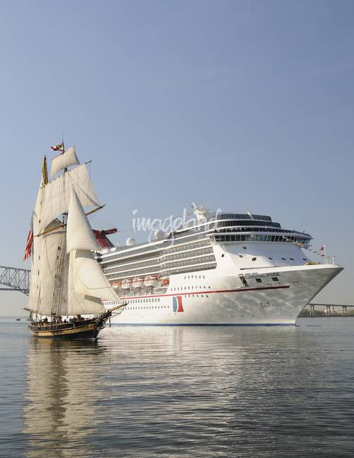 Cruise Ship Carnival Pride And Schooner Pride Of B By Bill