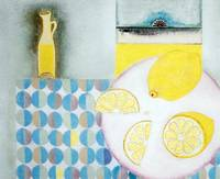 Lemons with table cloth