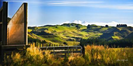 New Zealand rural landscape digital watercolor