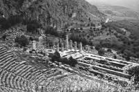 Temple of Apollo and Theatre, Delphi 1960 B&W by Priscilla Turner