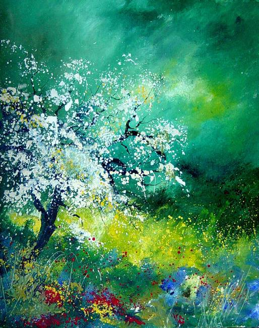 apple tree in blossom spring landscape