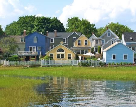 little blue houses
