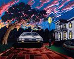 DeLorean 2 - Hurricane Sunset Posters