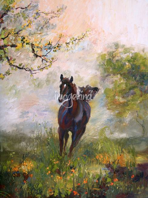 """Running In Joy"" Oil Painting by Ginette Callaway"
