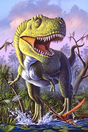Green Rex by artist Jerry LoFaro. Giclee prints, art prints, dinosaur art, t-rex art, tyrannosaurous rex art; from an original illustration