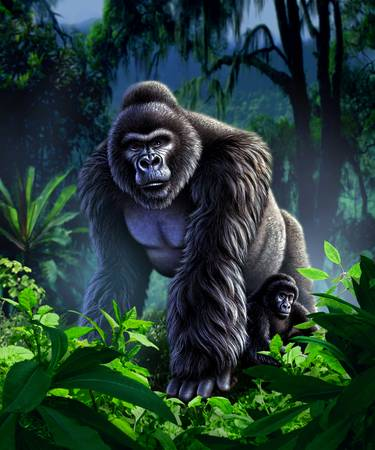 Guardian by artist Jerry LoFaro. Giclee prints, art prints, animal art, gorilla art; from an original illustration