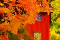 Impression: Red Barn in Autumn