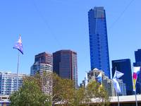 Melbournes CBD and flag