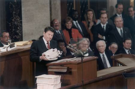 Ronald Reagan presenting need for balanced budget,