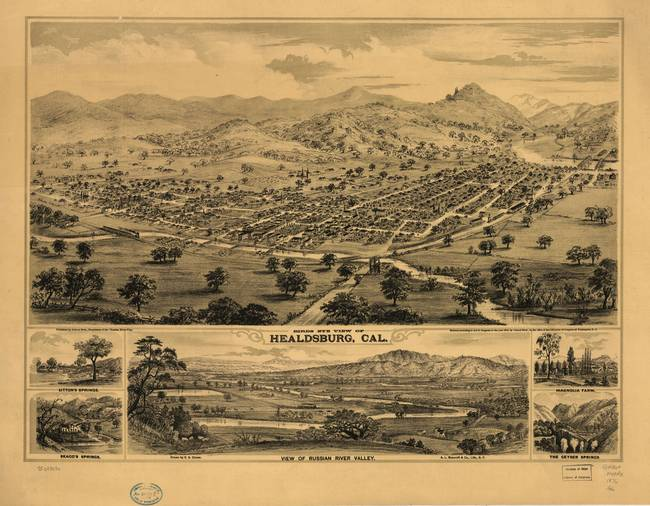 1876 Healdsburg, CA Bird's Eye View Panoramic Map