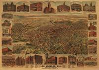 1891 Los Angeles, CA Birds Eye View Panoramic Map