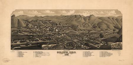1882 Golden, CO Bird's Eye View Panoramic Map