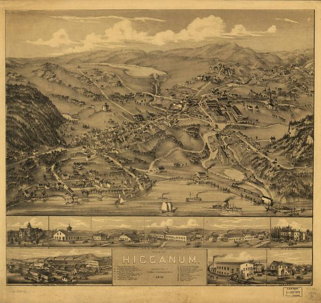 1881 Higganum, CT Bird's Eye View Panoramic Map