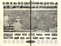 1911 New London, CT Bird's Eye View Panoramic Map