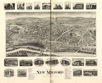 1906 New Milford, CT Bird's Eye View Panoramic Map