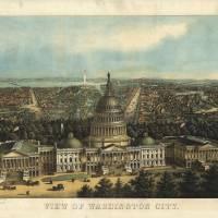 """1871 Washington DC Birds Eye View Panoramic Map"" by PaperTimeMachine"