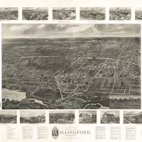 """1905 Wallingford, CT Birds Eye View Panoramic Map"" by PaperTimeMachine"