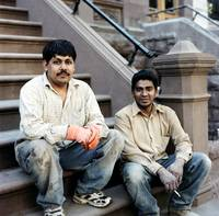 Construction Workers on a Park Bench