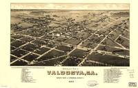 1885 Valdosta, GA Bird's Eye View Panoramic Map