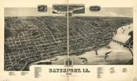 1888 Davenport, IA Bird's Eye View Panoramic Map