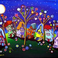 """Whimsical Trees and Houses"" by reniebritenbucher"