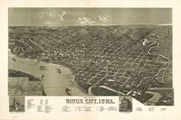 1888 Sioux City, IA Bird's Eye View Panoramic Map
