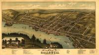 1878 Hallowell, ME Bird's Eye View Panoramic Map