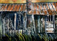 rusted tin roof old barn painting