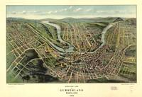 1906 Cumberland, MD Bird's Eye View Panoramic Map
