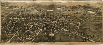 1890's Barre, MA Bird's Eye View Panoramic Map
