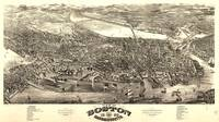 1880 Boston, MA Birds Eye View Panoramic Map