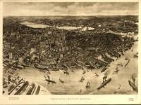 1905 Boston, MA Bird's Eye View Panoramic Map