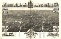 1882 Brockton, MA Birds Eye View Panoramic Map