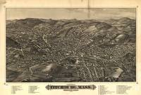1882 Fitchburg, MA Birds Eye View Panoramic Map