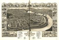 1881 Holyoke & South Hadley Falls MA Panoramic Map