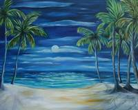 Full moon with palms
