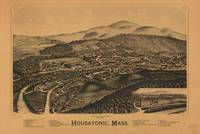 1890 Housatonic, MA Birds Eye View Panoramic Map