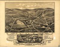 1879 Maynard, MA Birds Eye View Panoramic Map