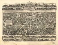 1897 Newton Centre, MA Birds Eye Panoramic Map
