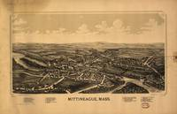 1889 Mittineague, MA Birds Eye Panoramic Map