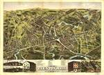 1875 Taunton, MA Birds Eye View Panoramic Map