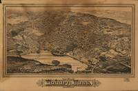 1883 Woburn, MA Birds Eye View Panoramic Map