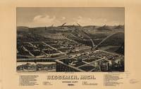 1886 Bessemer, MI Birds Eye View Panoramic Map