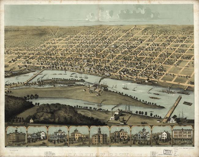 1867 Saginaw, MI Birds Eye View Panoramic Map