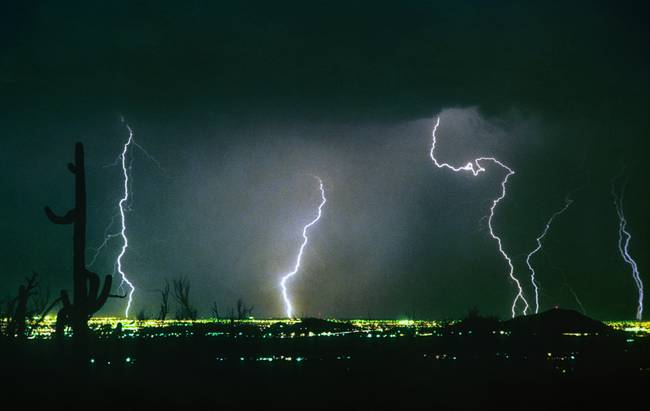View From Troon Lightning Strikes City