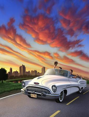 Summertime by artist Jerry LoFaro. Giclee prints, art prints, auto art, automobile art, car art, Buick art; from an original illustration