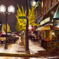 """""""Jackson and Broad at Night in Athens, Georgia"""" by Tim"""