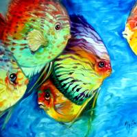 """TROPICAL FISH COLORS"" by MBaldwinFineArt2006"
